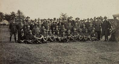 Black and white photograph of returned soldiers in Waiuku