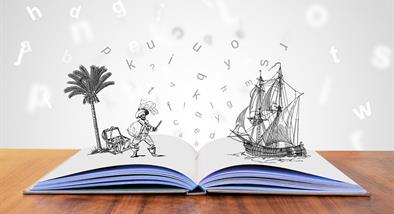 Book with skeleton pirate and pirate ship