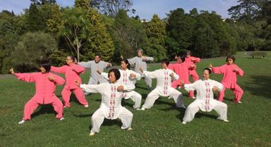Group of people doing taichi