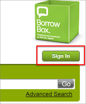 BorrowBox website with sign in highlighted in red.