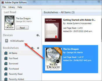 Adobe Digital Editions with an item selected and an arrow pointing to Kobo.