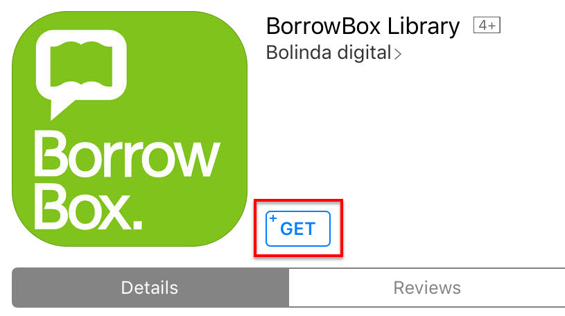 BorrowBox Library app with 'Get' button highlighted in red.