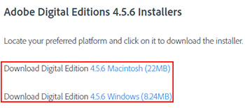 Adobe Digital Editions download links highlighted in red.