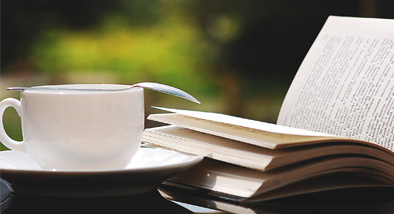 Book and tea.