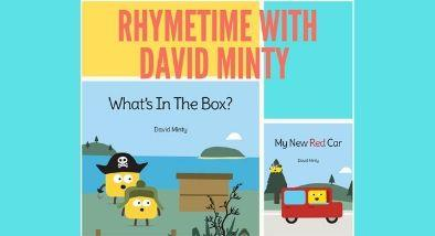 "David minty books 'What's in the box"" and "" My new red car"""