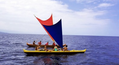 Outrigger canoe in the ocean