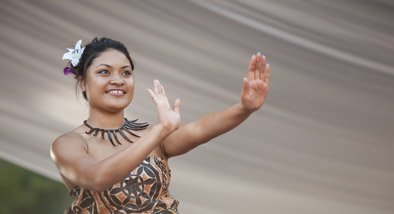Woman in traditional Pasifika dress