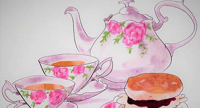 Teapot and tea.