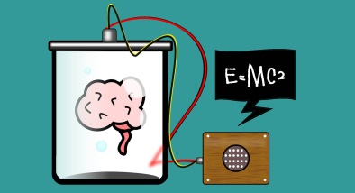 "Illustration of a brain in a jar connected to a speaker with speech bubble that says ""E=MC2"""