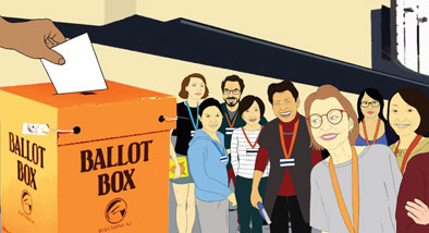 Illustration of people standing next to an orange voting ballot box