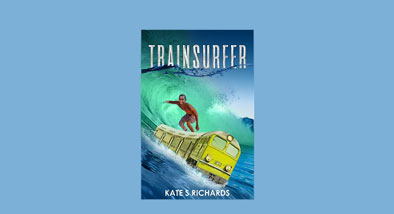 Trainsurfer cover featuring boy surfing huge wave.