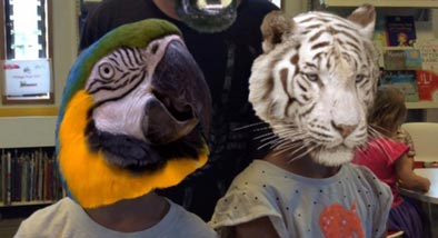 Kids with CGI animal heads