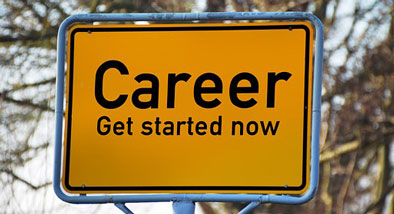 Yellow sign stating Career: Get starrted now