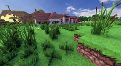 House and greenery in the Minecraft game