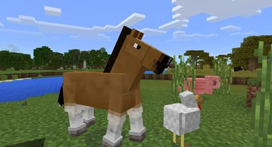 Minecraft image of a horse and chicken
