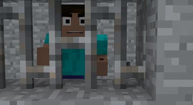 Minecraft character Steve in jail
