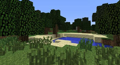 Pond and greenery in the Minecraft game.