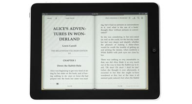 An ereader with open book on the screen