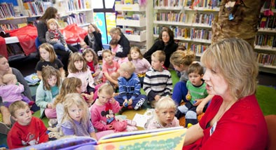 Storytime session with librarian