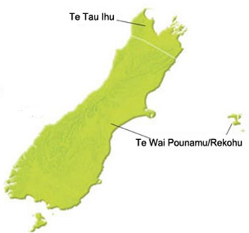 Map of iwi in South Island New Zealand.