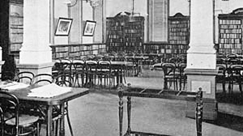 Leys Institute Library reading room, early 1900s.