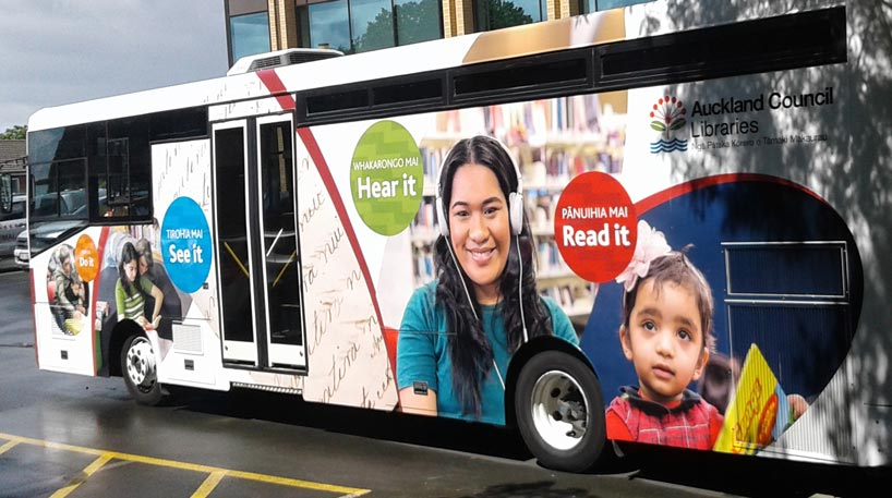 North Auckland mobile library bus