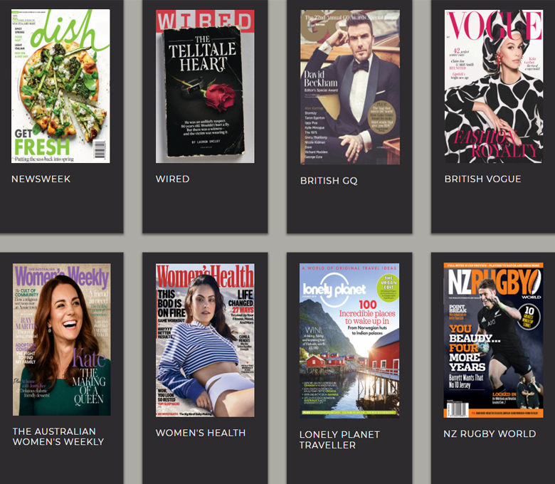 Magazine titles available in RBdigital.