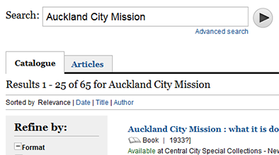 Catalogue search result for Auckland City Mission sorted by relevance.