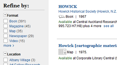 Refine by options next to catalogue search result for Howick.