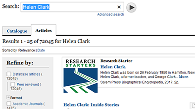 Catalogue search result for Helen Clark.