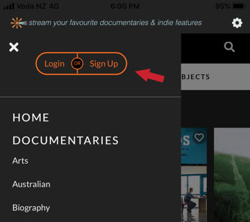 Image showing the Sign up button on the Beamafilm app