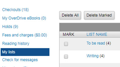 My lists link is shown on the left navigation menu and list names are shown beside it.